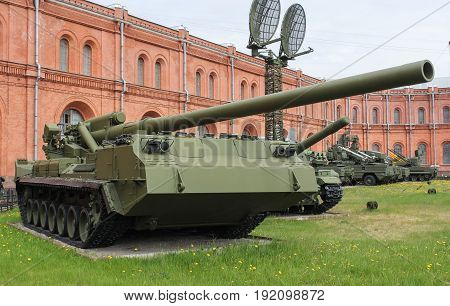 St. Petersburg Russia - 28 May, Self-propelled gun Peony, 28 May, 2017. Military History Museum of combat equipment in St. Petersburg.