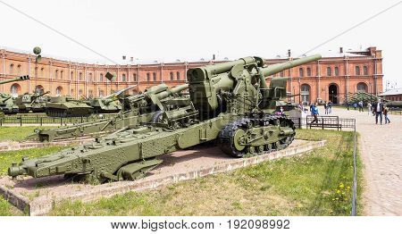 St. Petersburg Russia - 28 May, Heavy howitzer of great power,28 May, 2017. Military History Museum of combat equipment in St. Petersburg.