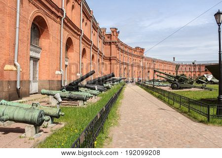 St. Petersburg Russia - 28 May, The path of the museum of artillery,28 May, 2017. Military History Museum of combat equipment in St. Petersburg.