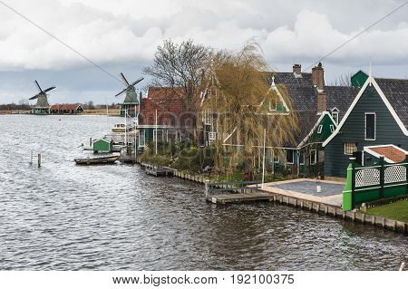 Row of windmills of the Zaanse Schans in Holland the Netherlands