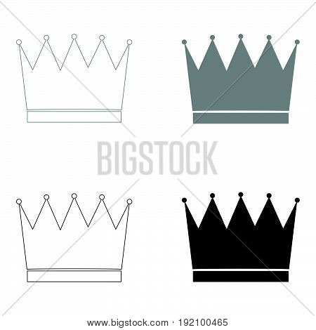 Crown   The Black And Grey Color Set Icon .