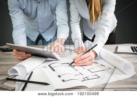 Architectural drawing. The work of an architect in a team. New home project.