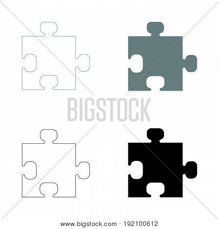 The Puzzle   The Black And Grey Color Set Icon .