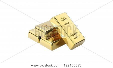 3D illustration closeup isolated shiny four pyramid of gold bars on a white background