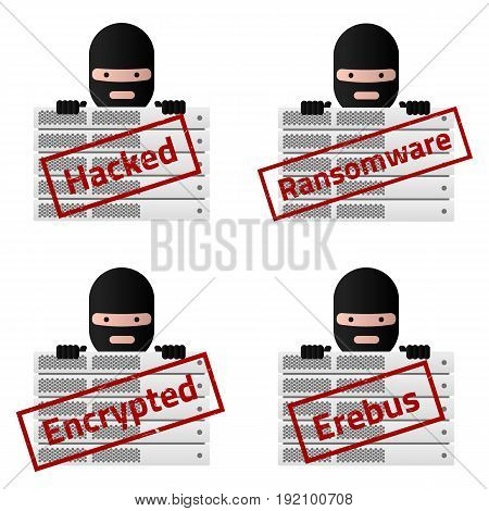 Server and Red stamp messages Hacked Ransomware Encrypted Erebus. Virus encryptor ransomware avatar. Editable eps10 Vector. White background.