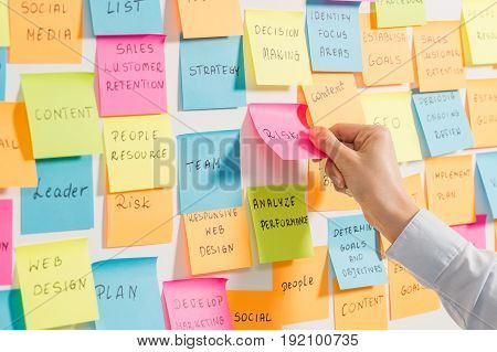 Brainstorming, business notes. Self-adhesive colored sticky notes.