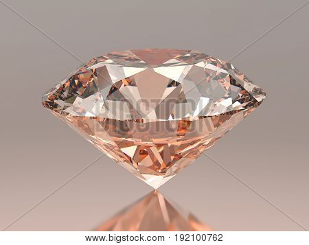 3D illustration red pink round diamond on grey pink red background with reflection
