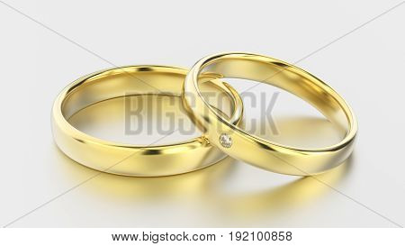 3D illustration classic yellow gold rings with diamond on a white background with reflections and shadows
