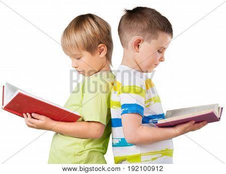 Happy boys school books schoolboys fun background