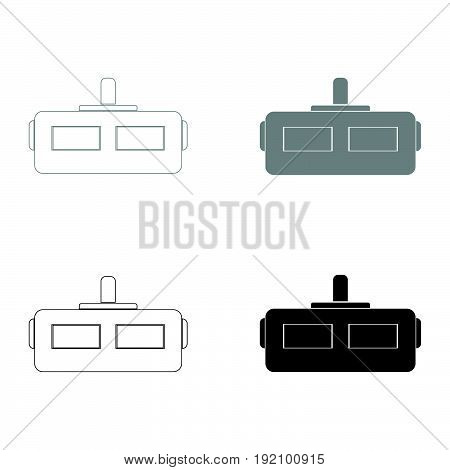 Virtual Reality Helmet   The Black And Grey Color Set Icon .
