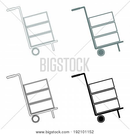 Cart Delivery Or Shipment Icon   The Black And Grey Color Set Icon .