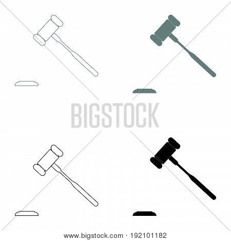 The Judicial Hammer   The Black And Grey Color Set Icon .