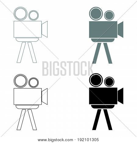 Cinematograph   The Black And Grey Color Set Icon .