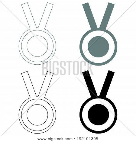 Medal   The Black And Grey Color Set Icon .