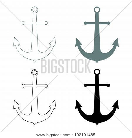 Marine Anchor   The Black And Grey Color Set Icon .