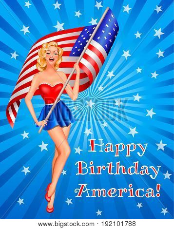 Independence day in USA 4th of July. Pin-up blond woman with flag of USA on beige background with text
