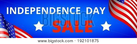 Independence Day Sale in USA 4th of July. Flag of USA on blue background, web banner