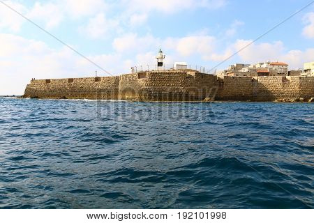 Acre old fortress on the shores of the Mediterranean Sea in the north of Israel