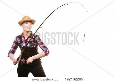 Happy Woman In Sun Hat Holding Fishing Rod