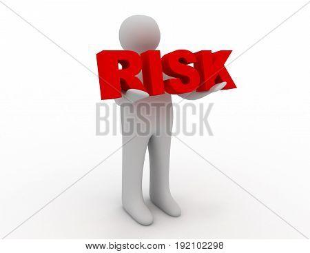 3D man holding word risk . 3d rendered illustration