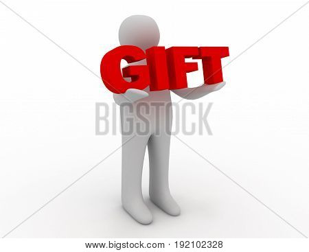 3D man holding word gift . 3d rendered illustration