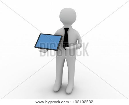 3D White Man Standing With A Tablet Pc