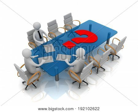 3d people - man person at conference table and question mark . 3d rendered illustration