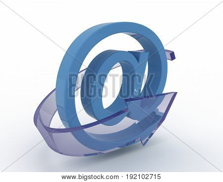 3d email icon with blue arrow . 3d rendered illustration