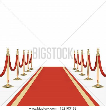 Red carpet with red ropes on golden stanchions. Exclusive event, movie premiere, gala, ceremony, awards concept. Blank template illustration with space for an object, person, logo, text.