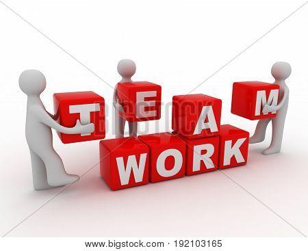 teamwork concept 3d . 3d renderd illustration
