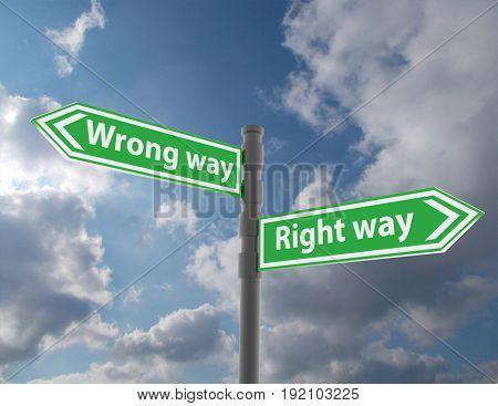 road sign concept . 3d renderd illustration