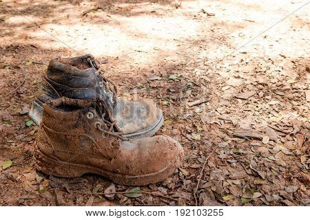 Leather shoes dirty construction site dirty soil