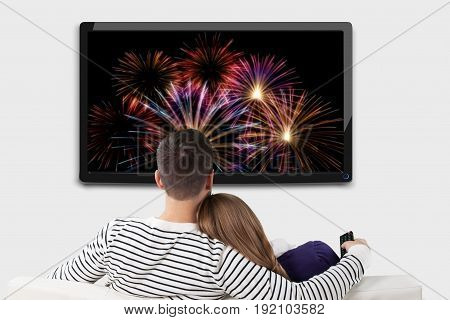 Watch couple tv back view white beautiful happy