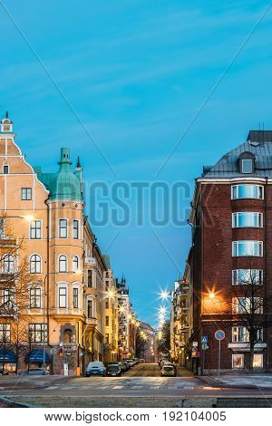 Helsinki, Finland - December 11, 2016: Residential House Building At Intersection Of Merikatu, Neitsytpolku And Puistokatu Streets In Winter Morning Evening. Ullanlinna Neighbourhood, District