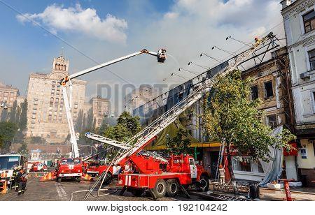 Fire In A Three-story House In Kiev