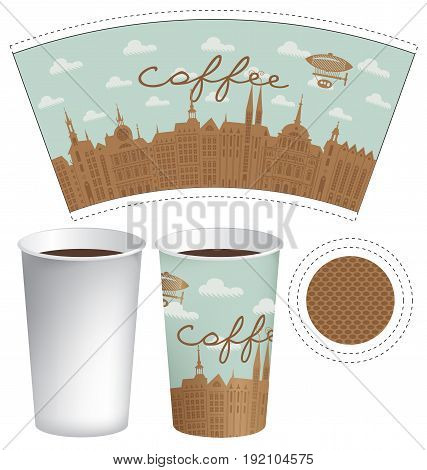 Vector template paper cup for hot drink with the inscription coffee on a background of old town with airship and clouds