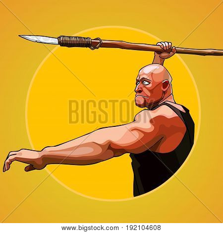Cartoon brutal man aims to hold a spear in his hand