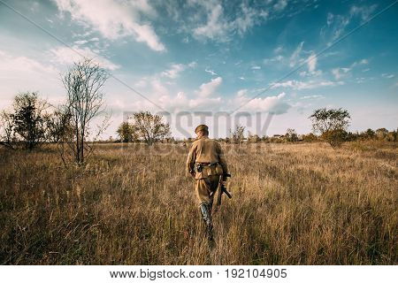 Dyatlovichi, Belarus - October 1, 2016: Reenactor Man Dressed As Russian Soviet Red Army Infantry Soldier Of World War II Walking In Autumn Meadow With Sub-machine Gun PPS-43 At Historical Reenactment