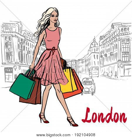 Walking woman with shopping bags in London, United Kingdom. Hand-drawn illustration. Fashion sketch