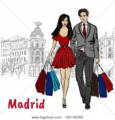 Man and woman walking with shopping bags in Madrid, Spain. Hand-drawn illustration. Fashion sketch