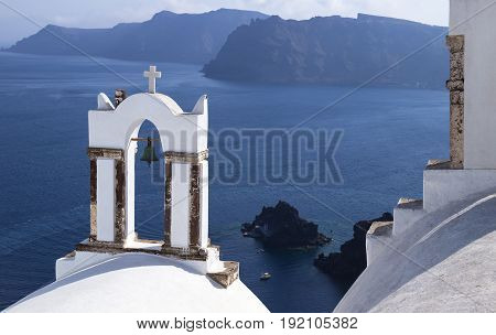 Church tower with view to the sea at Santorini Greece