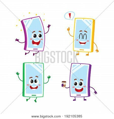 Set of cartoon mobile phone, smartphone characters with human faces jumping, excited, happy, vector illustration isolated on white background. Set of happy cartoon mobile phone, smartphone characters