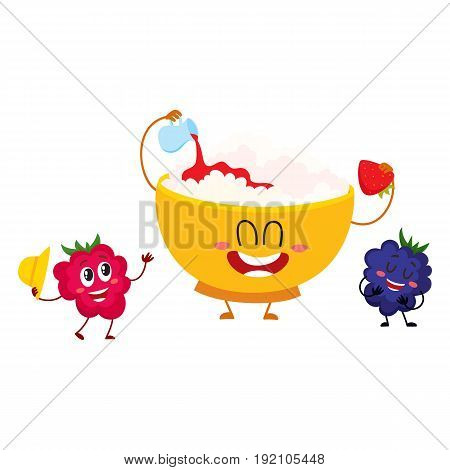 Funny smiling bowl of cottage cheese and raspberry, blackberry berry characters, cartoon vector illustration isolated on white background. Cute and funny cottage cheese bowl and berry characters