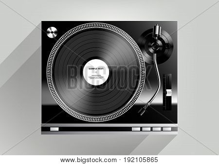 Vinyl record player on grey background and long shadow, Vector