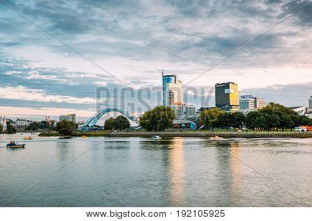 Minsk, Belarus - September 3, 2016: Business Center Royal Plaza - Skyscraper On Pobediteley Avenue In District Central Nemiga In Summer Evening. Svisloch River