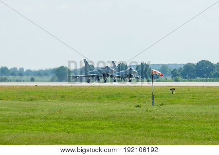BERLIN GERMANY - JUNE 03 2016: Preparing for takeoff multirole fighter Eurofighter Typhoon. Exhibition ILA Berlin Air Show 2016