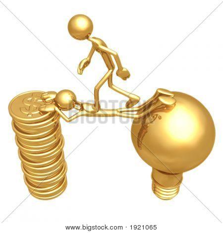 Sacrifice Bridge Between An Idea And A Gold Coin Stack