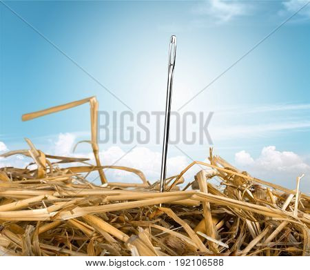 Close stack needle hay yellow background object