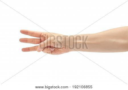 Beautiful Female Hand Count Three Gesture. Isolated On White Background