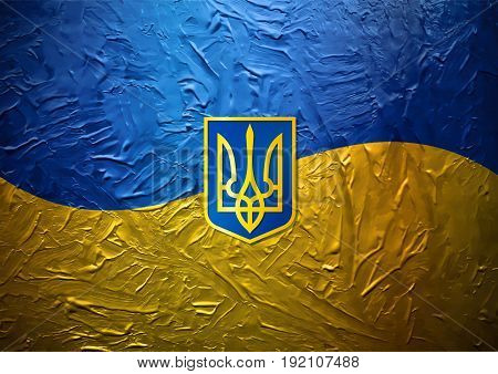 Grungy Painted Ukrainian Flag with Blazon EPS10
